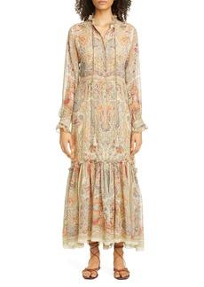 Etro Paisley Long Sleeve Silk Maxi Dress