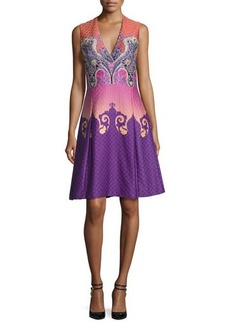 Etro Paisley Ombre Cloqué V-Neck Dress