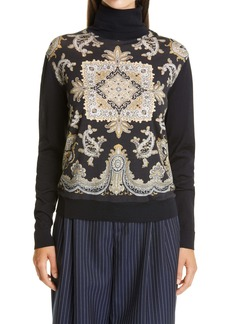 Etro Paisley Panel Turtleneck Wool Blend Sweater