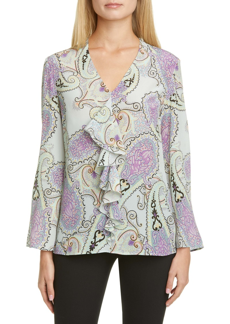Etro Paisley Plissé Pleat High/Low Silk Shirt