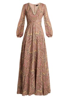 Etro Paisley-print bead-embellished silk gown