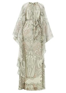 Etro Paisley-print cape-sleeve silk-blend maxi dress
