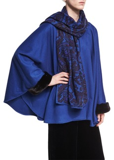 Etro Paisley-Print Cashmere Poncho with Fur Cuffs