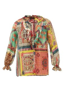 Etro Paisley-print cotton-blend chiffon blouse