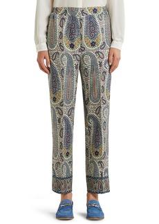 Etro Paisley Print Crop Wool & Silk Pants