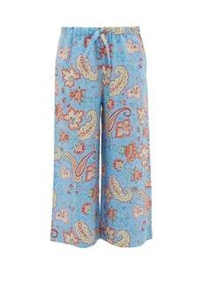 Etro Paisley-print cropped ramie trousers