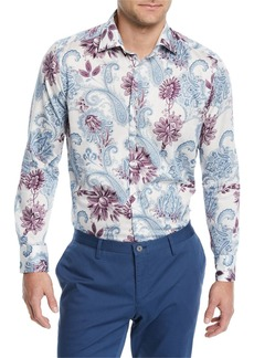 Etro Paisley-Print Long-Sleeve Sport Shirt  White/Multi