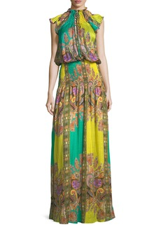 Etro Paisley-Print Neckline with Smocked Detail