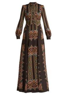 Etro Paisley-print pussybow crepe dress