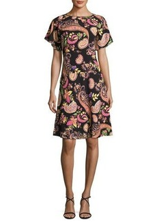Etro Paisley-Print Short-Sleeve Dress