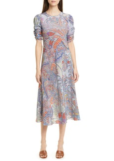 Etro Paisley Print Silk A-Line Midi Dress