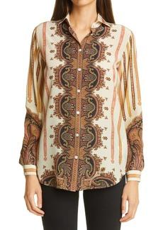Etro Paisley Print Silk Blouse