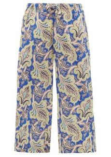 Etro Paisley-print silk-crepe de Chine cropped trousers