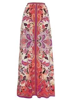 Etro Paisley-print silk-crepe long skirt