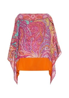 Etro Paisley-print silk-crepe poncho