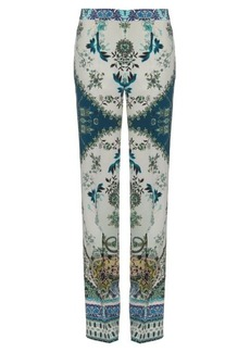 Etro Paisley-print silk-crepe trousers