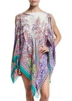 Etro Paisley Print Silk Poncho