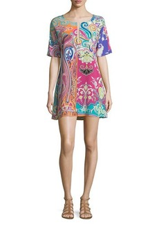 Etro Paisley-Print Split-Neck Tunic Coverup Dress