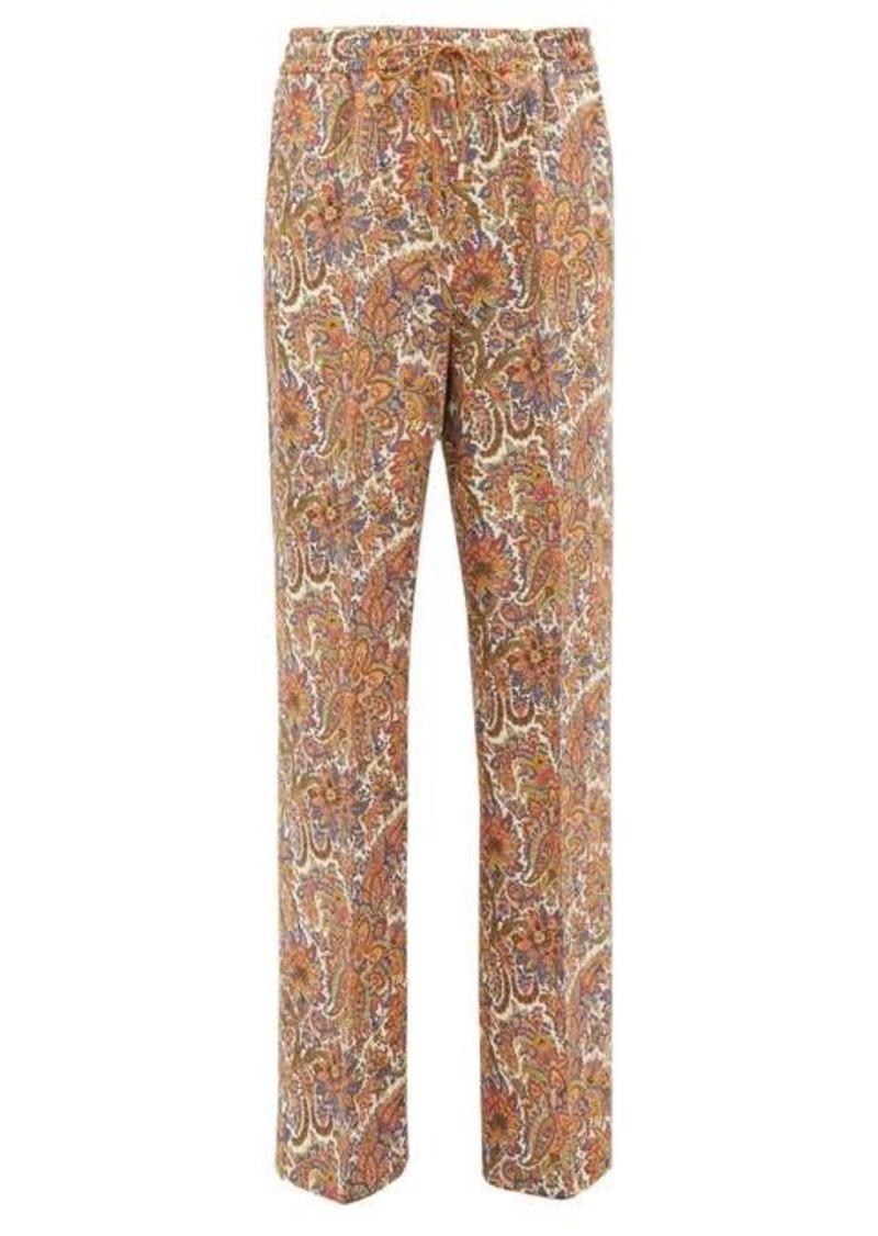 Etro Paisley-print wool-blend twill wide-leg trousers