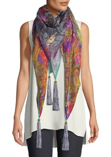 Etro Paisley Silk-Blend Scarf w/ Floral Embroidery