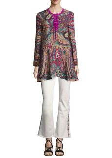 Etro Paisley Silk Lace-Up Tunic