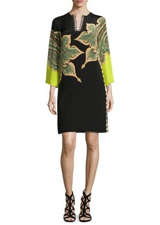 Etro Paisley Split-Neck Shift Dress