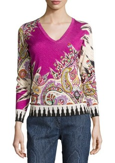 Etro Paisley Stampa V-Neck Sweater