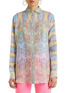 Etro Paisley Stripe Long Sleeve Shirt