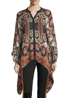 Etro Paisley Suzani Button-Front Wool-Silk Blouse