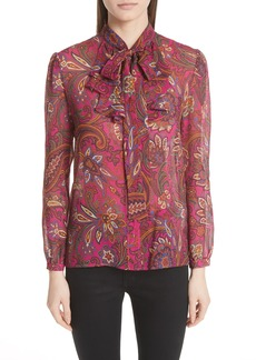 Etro Paisley Tie Neck Silk Blouse