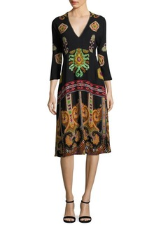 Etro Paisley V-Neck Dress