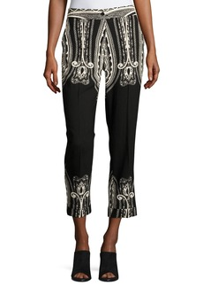 Etro Paisley Wool Cropped Straight-Leg Pants