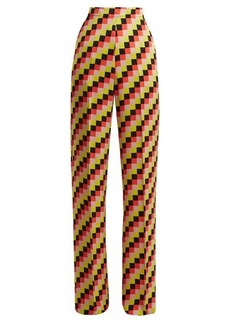 Etro Palazzo geometric-print satin trousers