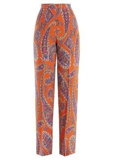 Etro Palazzo paisley-print silk-crepe trousers