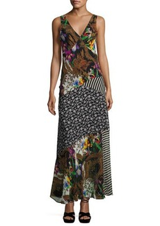 Etro Patchwork Floral Silk Maxi Dress
