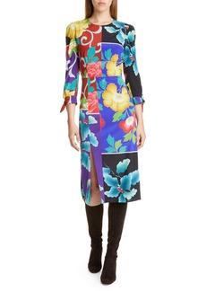 Etro Patchwork Floral Stretch Silk Dress