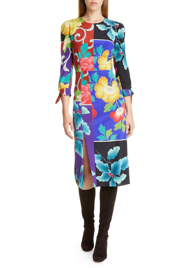 Etro Patchwork Floral Stretch Silk Dress