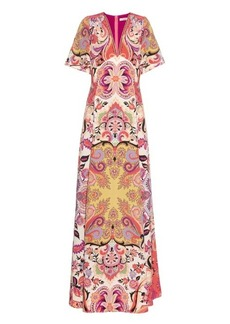 Etro Patchwork paisley-print silk-crepe long dress
