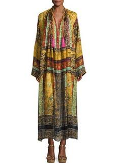 Etro Patchwork-Print Silk Caftan Gown