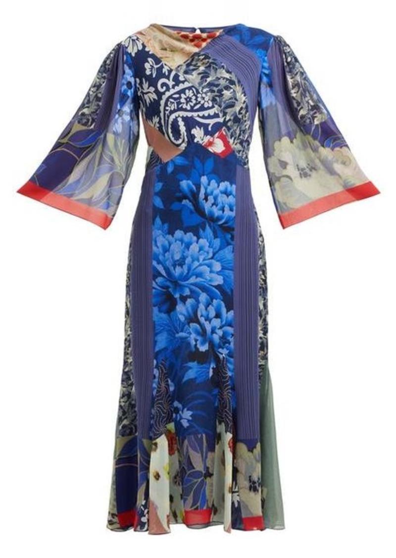 Etro Patchwork-print silk-chiffon dress