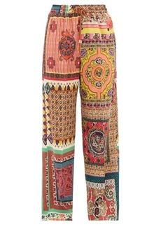 Etro Patchwork-print silk-crepe trousers