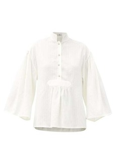 Etro Patmos stand-collar embroidered silk blouse