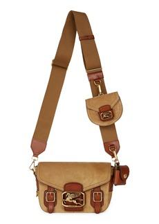 Etro Pegaso Safari Suede Shoulder Bag - Beige