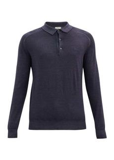 Etro Pegasus long-sleeved wool polo shirt