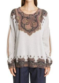 Etro Placed Paisley Print Wool & Cashmere Sweater