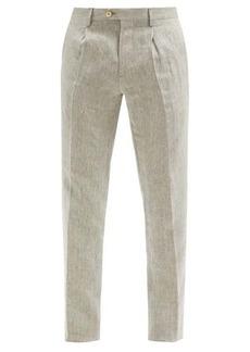 Etro Pleated linen slim-leg trousers
