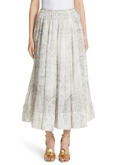Etro Pleated Paisley Midi Skirt