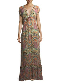 Etro Plunging Cap-Sleeve Printed Coverup Maxi Dress