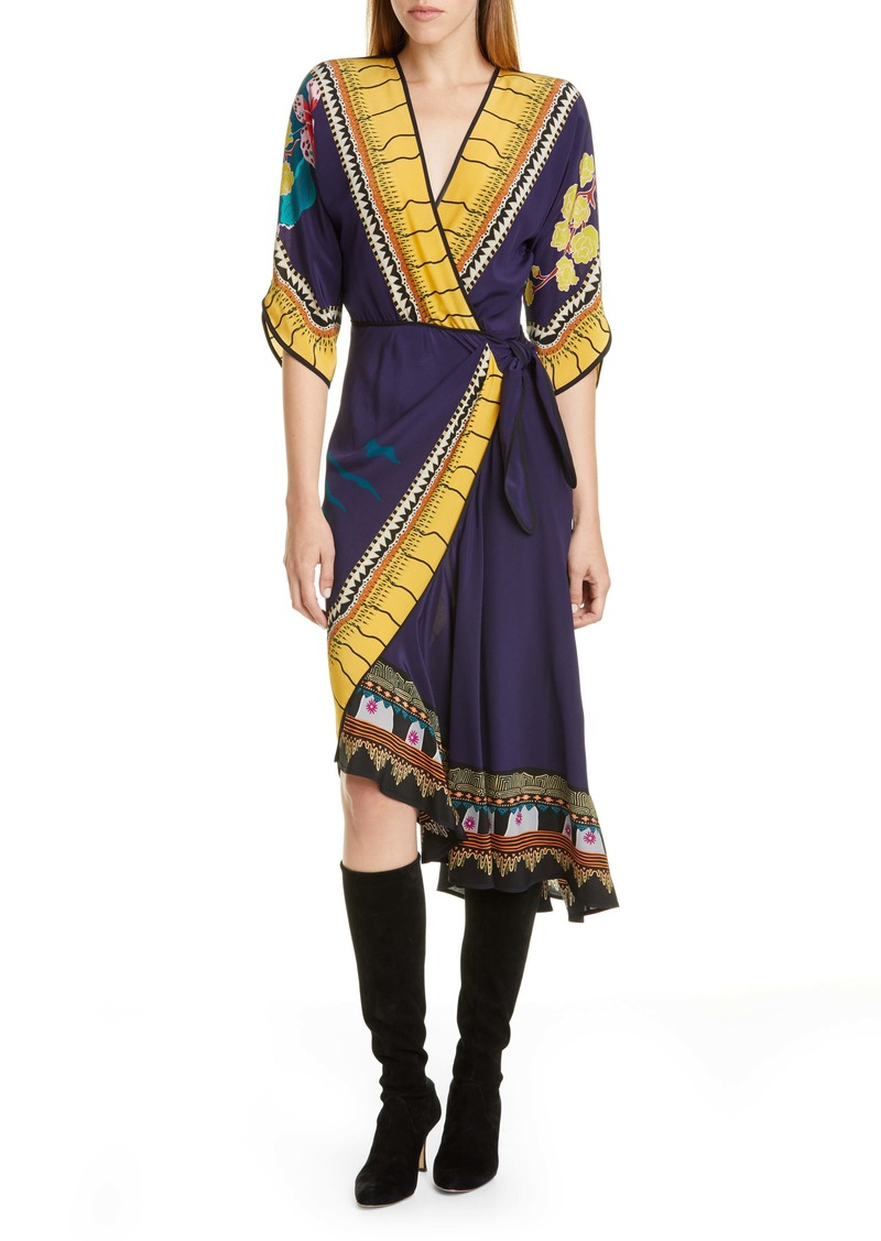 Etro Print Faux Wrap Silk Dress