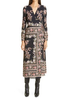 Etro Print Long Sleeve Jersey Wrap Dress